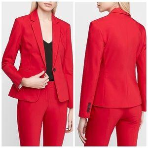 Express Red Notch Collar One Button Blazer Size 10